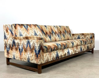 Vintage Zig Zag Velvet Sofa In The Style of Harvey Probber 1960's