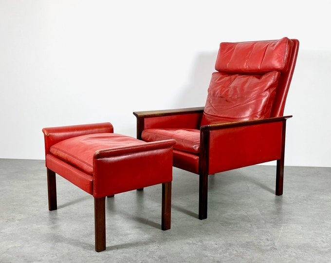 Vintage Hans Olsen Rosewood Leather Lounge Chair and Ottoman 1960s