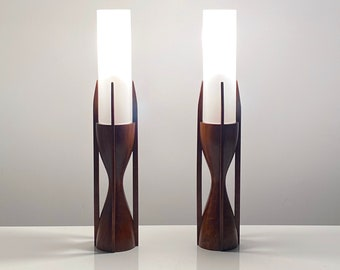 Rare Pair Modeline Sculptural Walnut Glass Table Lamps 1960s