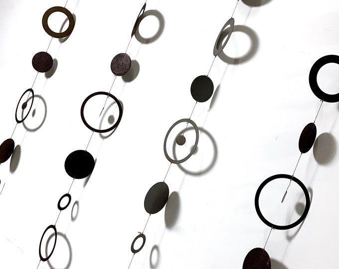 Set of 4 Hanging Metal Circle Mobile Sculptures 1970's