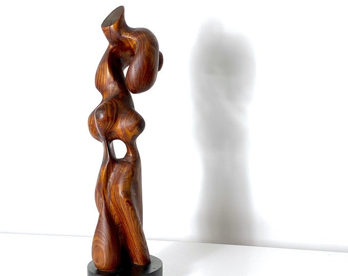 Vintage Mid Century Abstract Biomorphic Carved Wood Sculpture 1970s