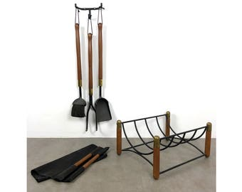 1960's Walnut Iron & Brass Fire Tools and Log Rack Set By Seymour
