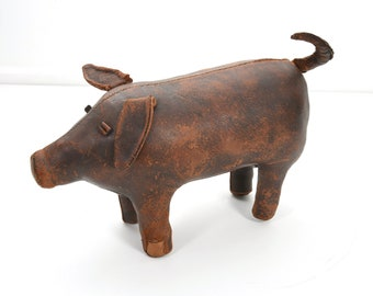 Early Omersa Abercrombie and Fitch Leather Pig Foot Stool