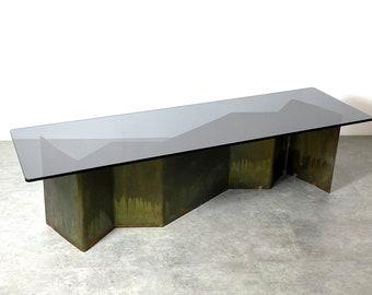 Signed James Nani Bronze Glass Studio Coffee Table 1986