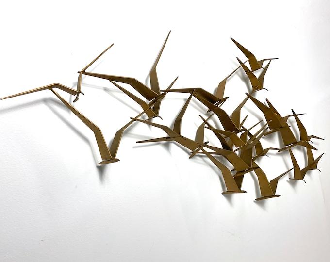 Curtis Jere Gold Birds In Flight Wall Sculpture 1970s