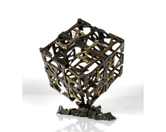 Modernist Welded Steel & Brass Cube Sculpture 1970's