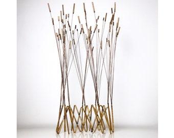 """38"""" Tall Kinetic Cattail Sculpture, David Grossman attributed 1960's"""