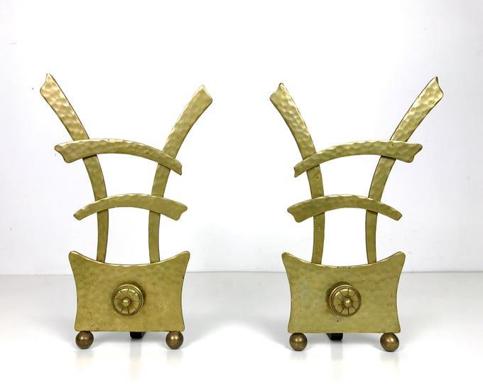 Vintage Asian Modern Brass Andirons 1950's