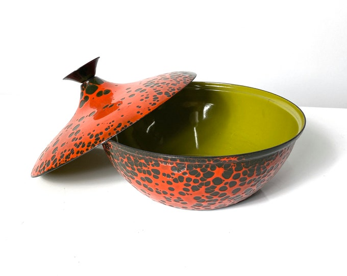 Vintage Hanova of Pasadena Lava Enamel Lidded Bowl 1960s