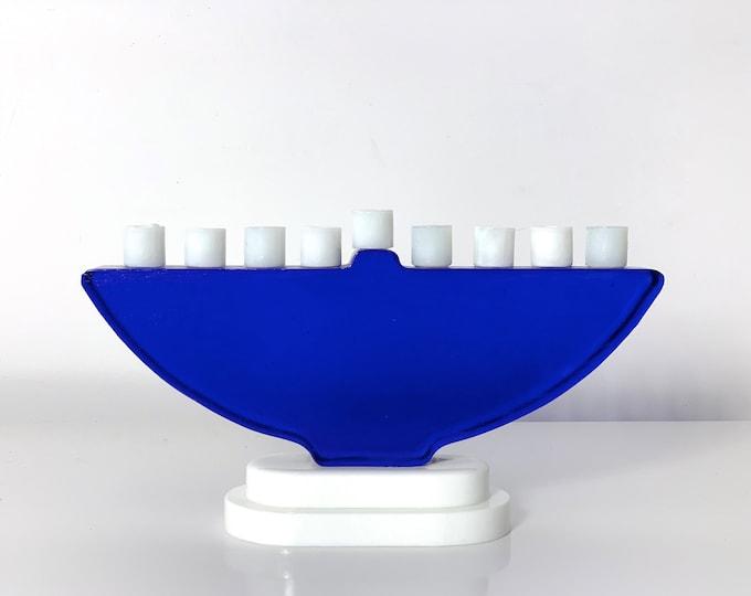 Vintage Cobalt Blue & White Art Glass Menorah 1980s