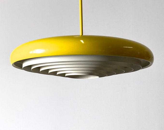 Mid Century Danish Modern Yellow Saucer Pendant Lamp 1960s