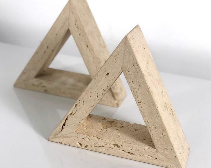 Fratelli Mannelli Triangle Travertine Bookends for Raymor 1960's
