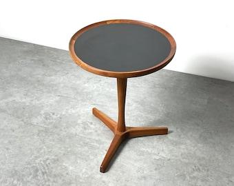Hans C Andersen Round Teak Tripod Pedestal Table 1960s