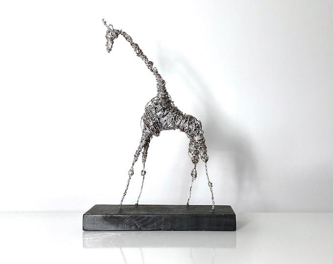 """20"""" Mid Century Brutalist Wire Giraffe Sculpture 1970s"""