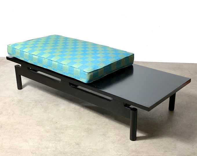 Modernist Ebonized Low Floating Bench w/ Seat Cushion 1950's