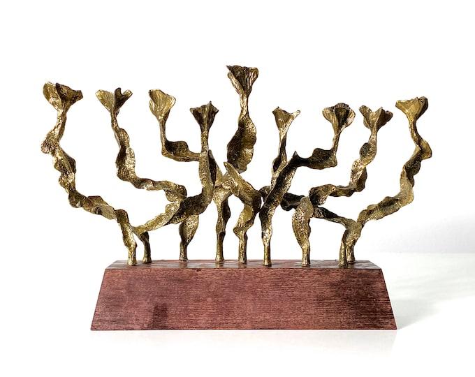Rare Vintage Brutalist Brass Menorah 1970's