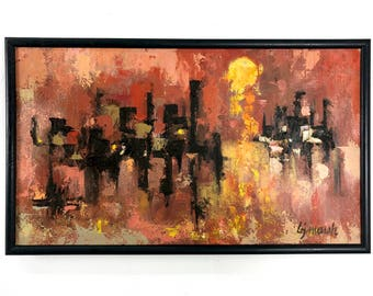 Signed Modernist Abstract Framed Painting 1950's