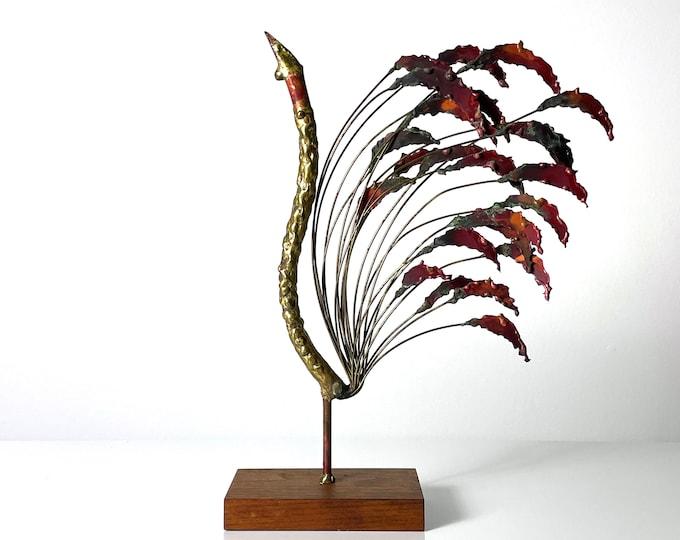 Vintage Brutalist Brass Enamel Peacock Kinetic Sculpture 1960s