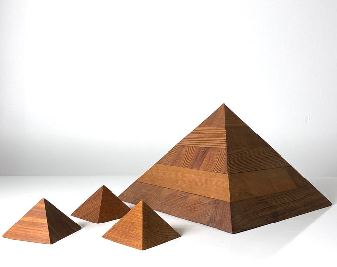 Vintage Grouping of Four Studio Art Pyramid Sculptures 1970s