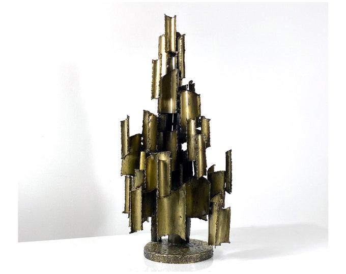 Vintage Brutalist Brass Sculpture by Marcello Fantoni 1960s