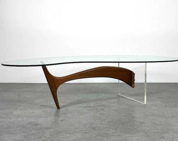 Biomorphic Walnut Glass Kidney Coffee Table 1960s