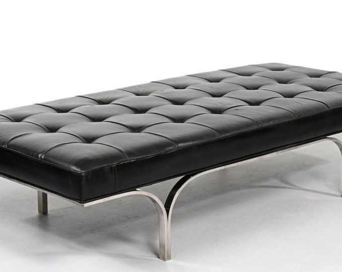 Tufted Leather Bench by Erwin and Estelle Laverne 1960s