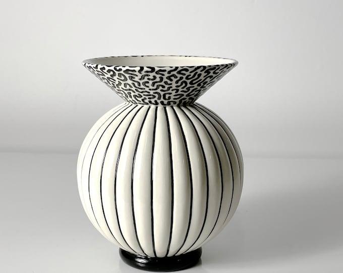 Vintage Signed Michael Duvall Postmodern Ceramic Vase 1980s