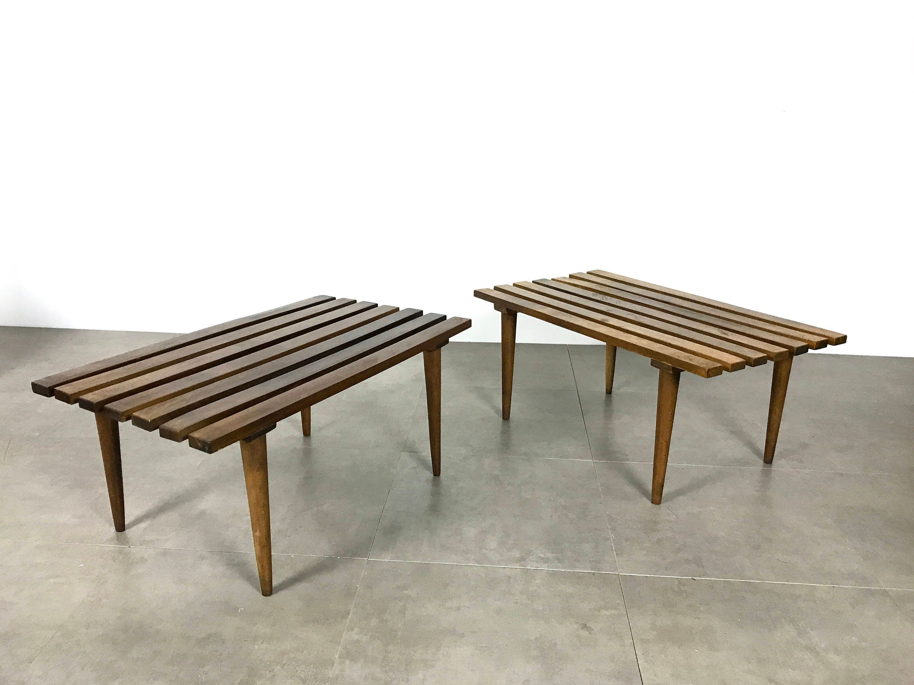 On Hold Pair Mid Century Modern Italian Slat Benches Or