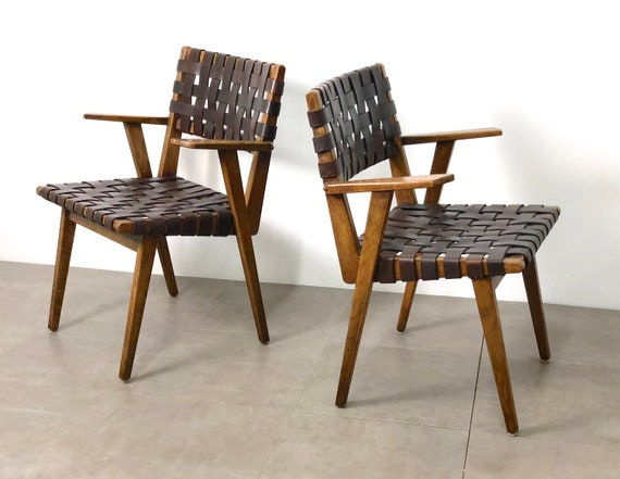 PAIR Mid Century Modern Leather Webbed Chairs, 1940's1950's