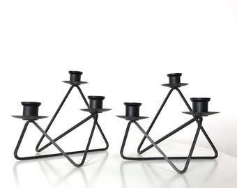 Pair Modernist Black Wire Candleholders 1950's