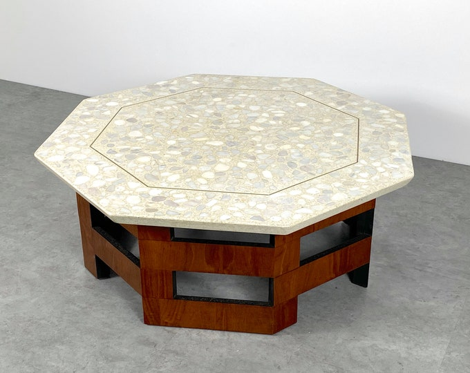 Vintage Harvey Probber Terrazzo Walnut Coffee Table 1960s