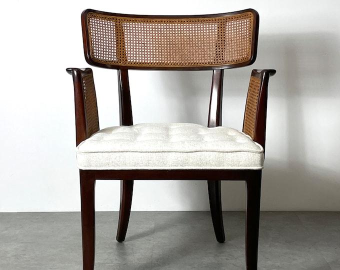 Rare Edward Wormley Dunbar Cane Armchair 1950s