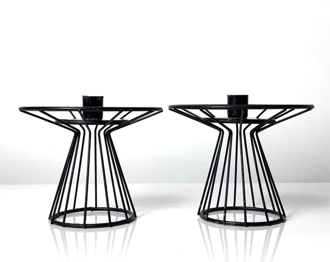 Pair of Mid Century Modern Wire Candle Holders 1950's