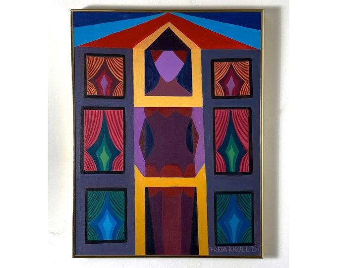 "26x20"" Freda Kroll Original Oil Painting 1981"