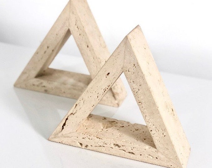 Fratelli Mannelli Triangle Travertine Bookends for Raymor 1960s