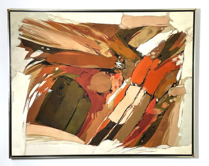 62x49 Ray Frost Fleming Abstract Acrylic Painting 1970s