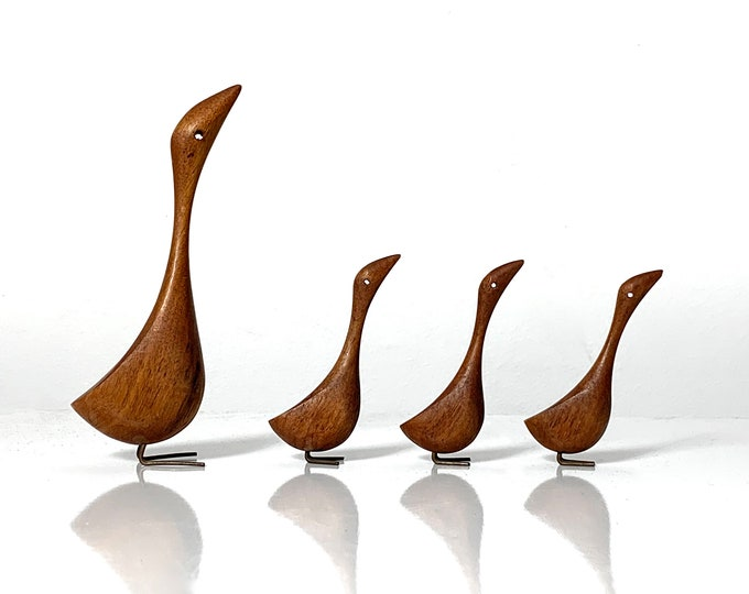 Vintage Grouping of Jacob Hermann Style Teak Bird Sculptures 1950s