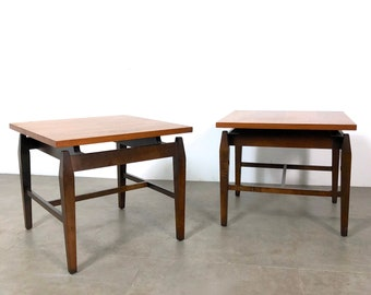 Pair Walnut Floating Top Side Tables, 1960's