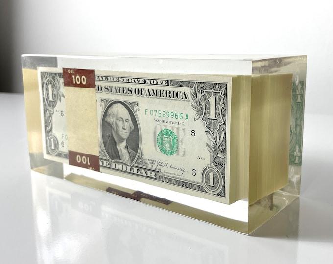 Vintage Lucite Money Paperweight Sculpture 1960s