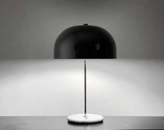 Single 1970's Marble Base Mushroom Table Lamp