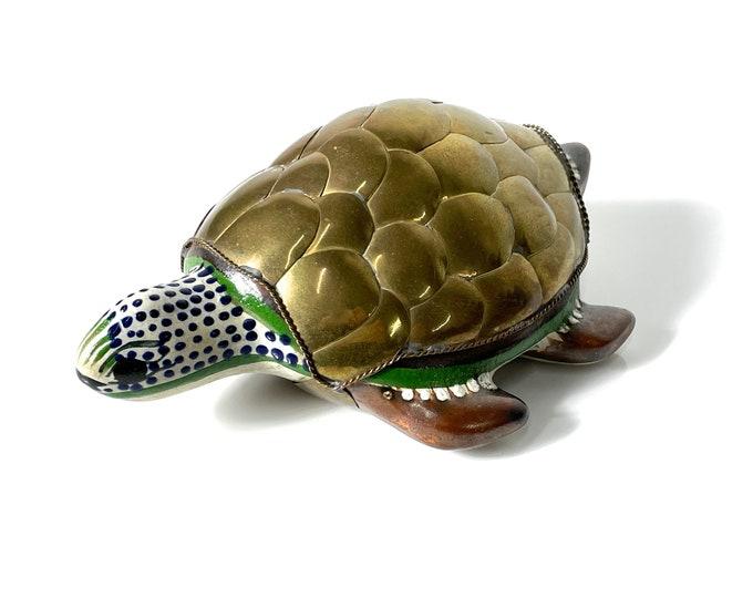 Vintage Mexican Brass Ceramic Turtle Sculpture Sergio Bustamante Style 1970s