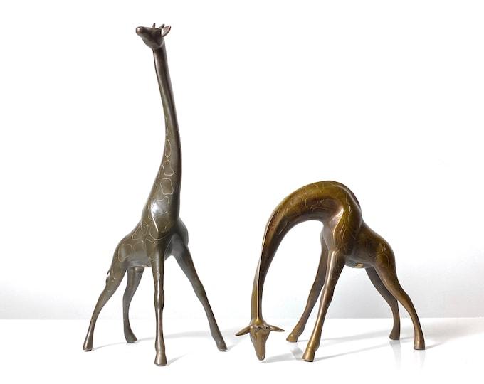 "21"" Pair Vintage Bronze Brass Figural Giraffe Sculptures 1970s"