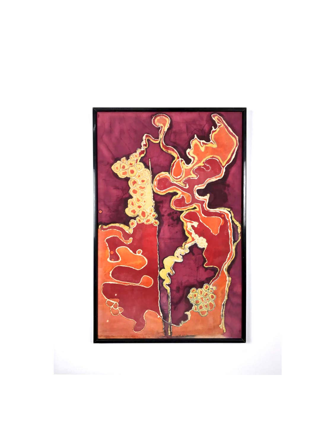38x25 Vintage Abstract Textile Framed Wall Art Painting C1970 S