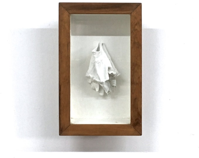 Unusual Mid Century Signed Original Art Plaster Sculpture Boxed Wall Hanging