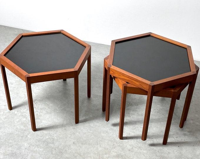 Set of Three Hans C Andersen Teak Hexagon Stacking Tables 1960s