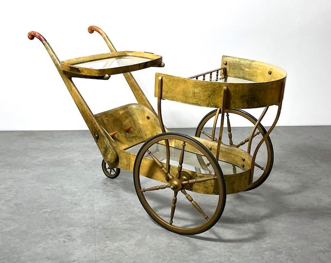 Vintage Aldo Tura Goat Skin Brass Bar Serving Cart 1950s