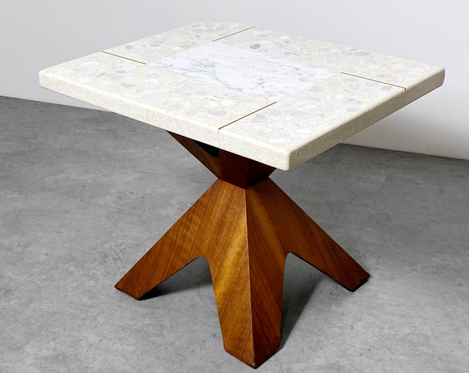 Walnut and Terrazzo Side Table by Harvey Probber 1960s