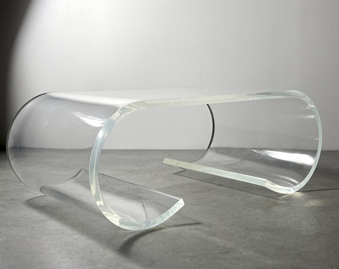 Vintage Lucite Scroll Coffee Table Karl Springer Style 1970s