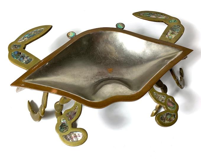 Large Sculptural Mixed Metal Crab Dish 1960's