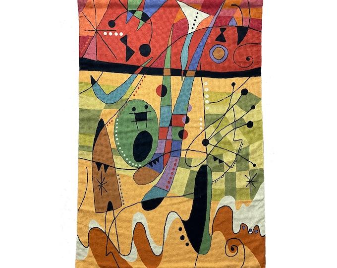 4x6 Vintage Wool Tapestry Rug Wall Hanging Kandinsky Style 1980s